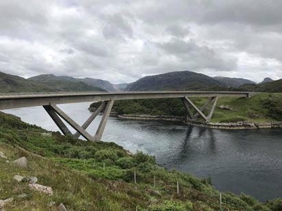 We had our furthest travelled visitor of the trip so far. We met Robert when we stopped to enjoy the view at Kylesku bridge. He has travelled from Brisbane, Australia and is heading to Orkney.