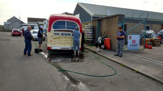 Washing our Shetlander at Caithness in Thurso