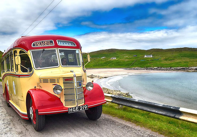Fantastic picture by Chris Puddephatt of our coach The Shetlander at Clashnessie today
