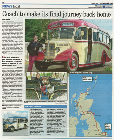 Shetland Road Trip - June 2017 - EDP Newspaper Article