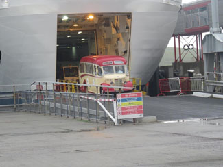 Thank You Peter Spasov For These Pictures of Our Coach Arriving At Lerwick, Shetland, Off The MV Hrossey at 7.30am