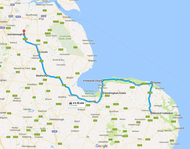 Shetland Road Trip - June 2017 - Route Day One - Gainsborough