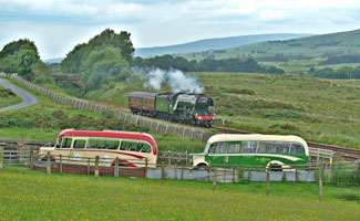 Flying Scotsman with Our Coach and Bibby's Coach